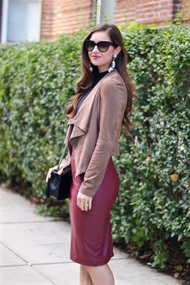 Suedette Waterfall Jacket And Burgundy Leather Skirt La