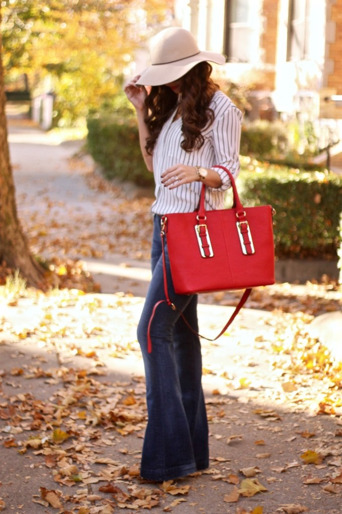 Beige Floppy Hat, Striped Blouse, Red Tote, 7FAM Super Flare Jeans