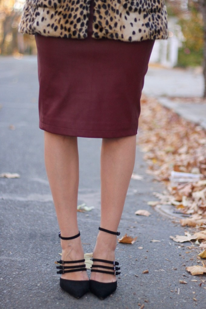 Burgundy Leather Pencil Skirt; Strappy Heel