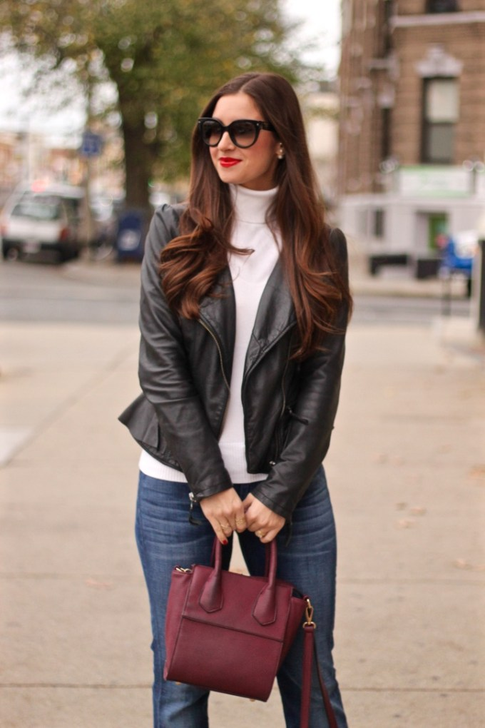 Ruffled Peplum Leather Jacket, Burgundy Crossbody Bag