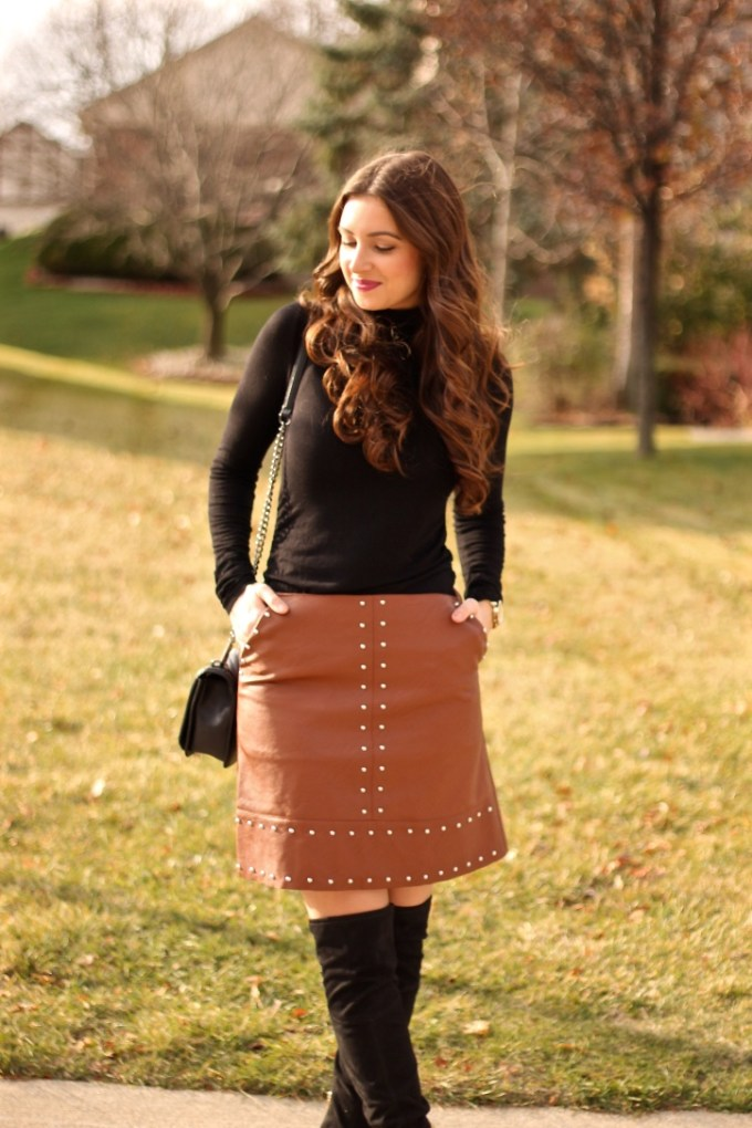 Brown Leather Studded Skirt, Black Suede OTK Boots by Ivanka Trump