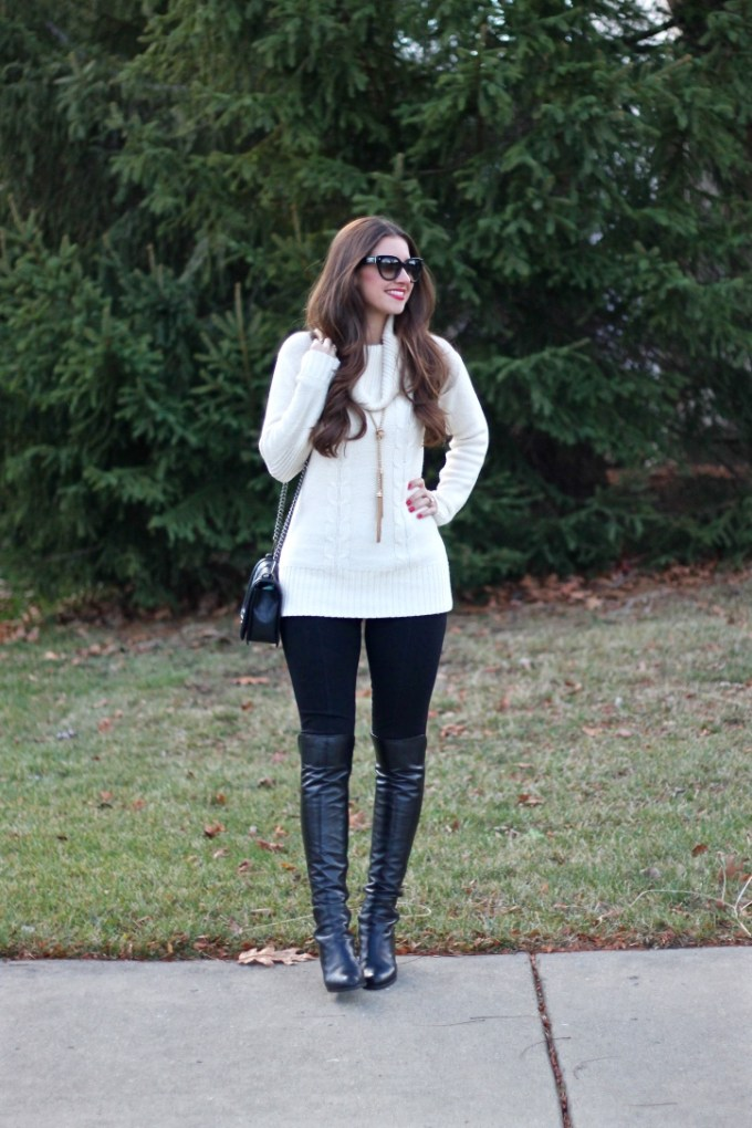 Cream Cable Knit Tunic Sweater, Stuart Weitzman Semi Wedge Boots
