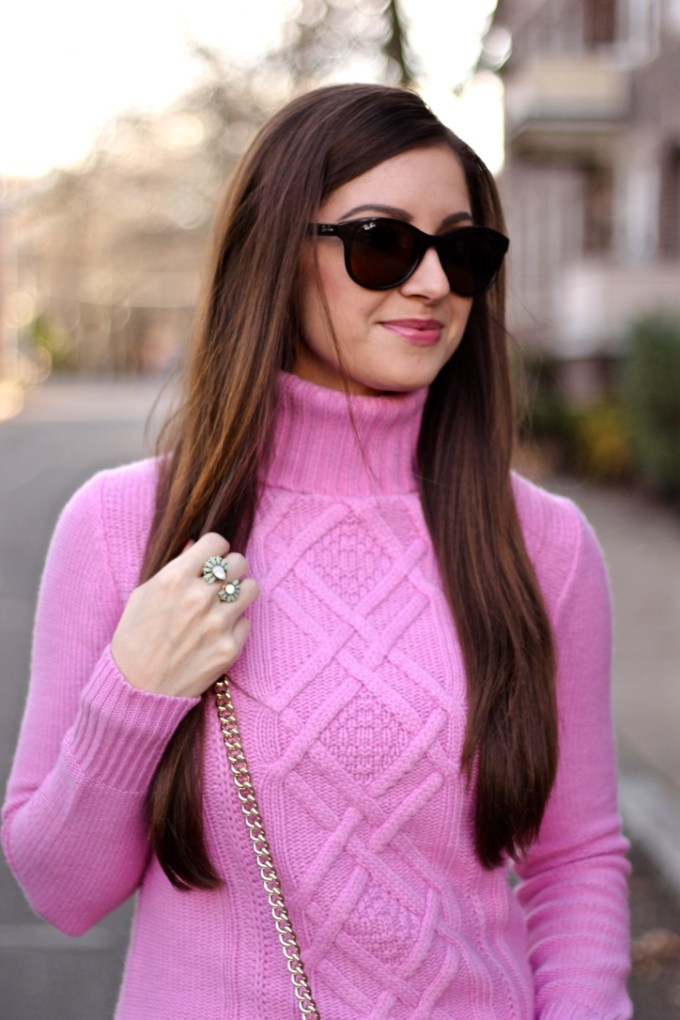 J.Crew Bright Orchid Pink Cambridge Cable turtleneck sweater