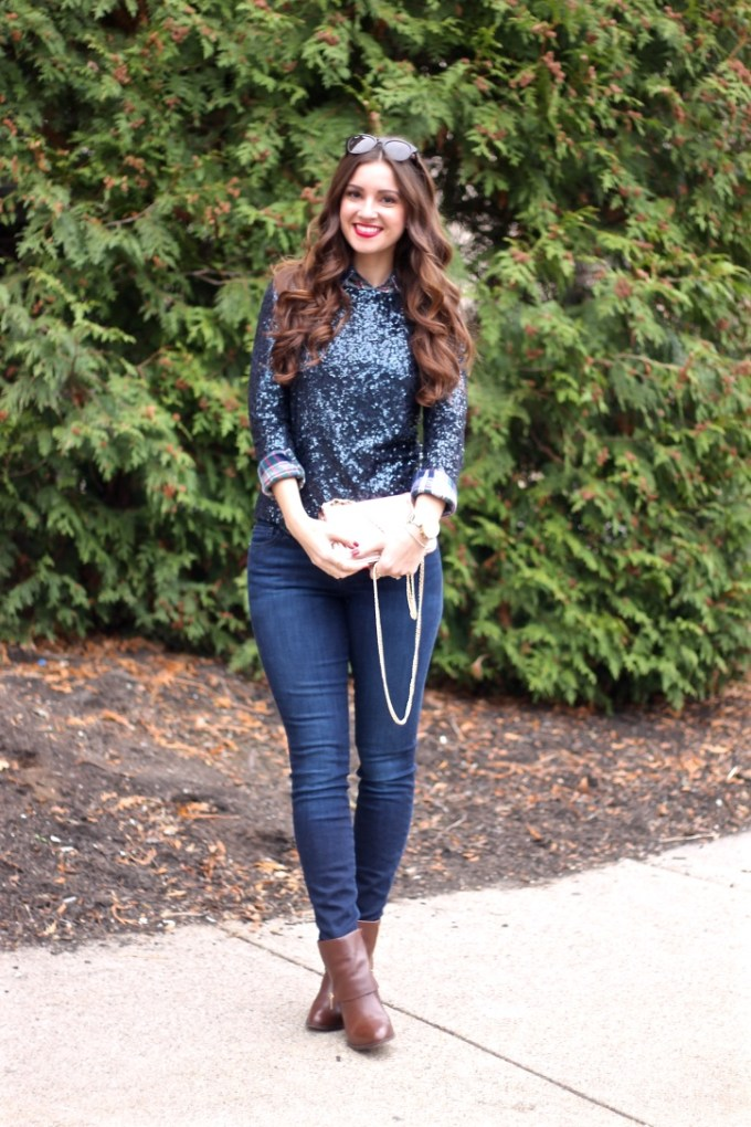 Casual Holiday Christmas Party Outfit, Sequin Sweater with Plaid Button Down