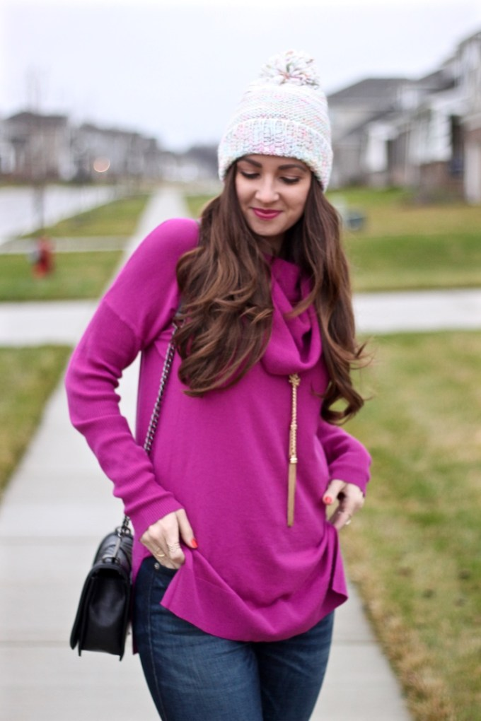 Caslon Pink Cowl Neck Sweater with multi-colored beanie pom hat