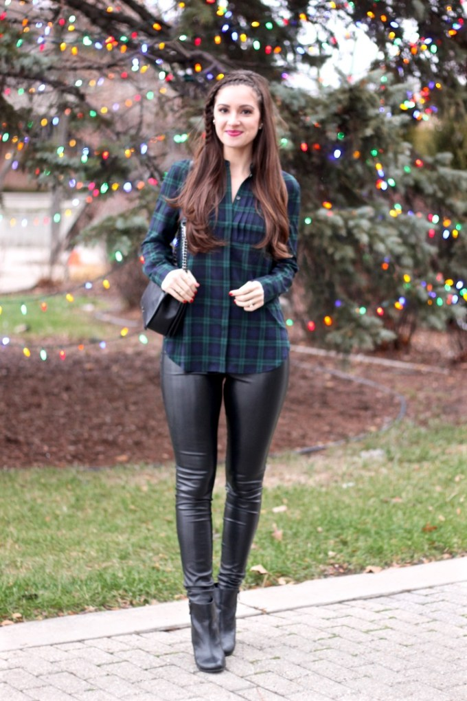 JCrew Factory Plaid Tuxedo Top, Express Minus the Leather Legging, 3D Headband Braid