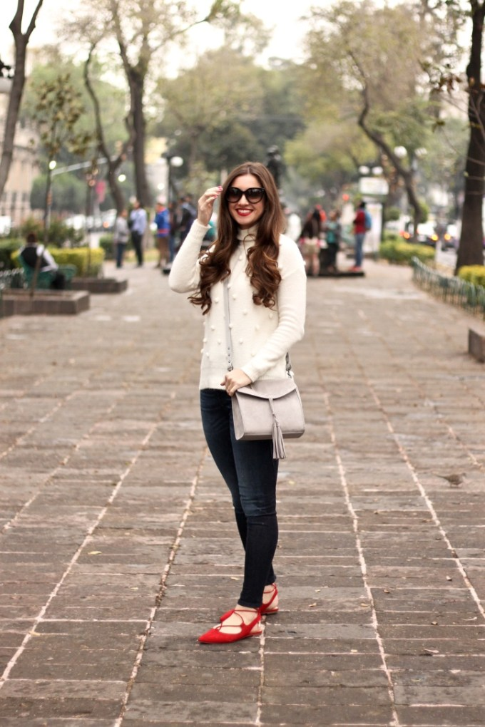 Madewell Snowglobe Bobble Turtleneck Cream Sweater, Pom Sweater, Franco Sarto Snap Red Lace-up Flats