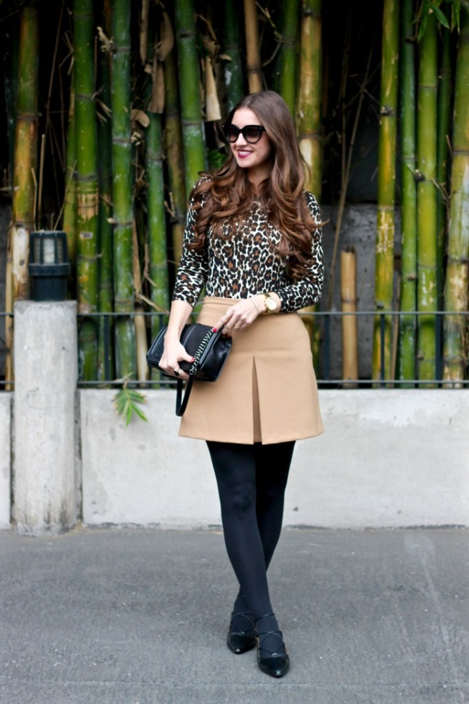 J.Crew Tippi Leopard Sweater, Mango Tan Mini Skirt with center-slit