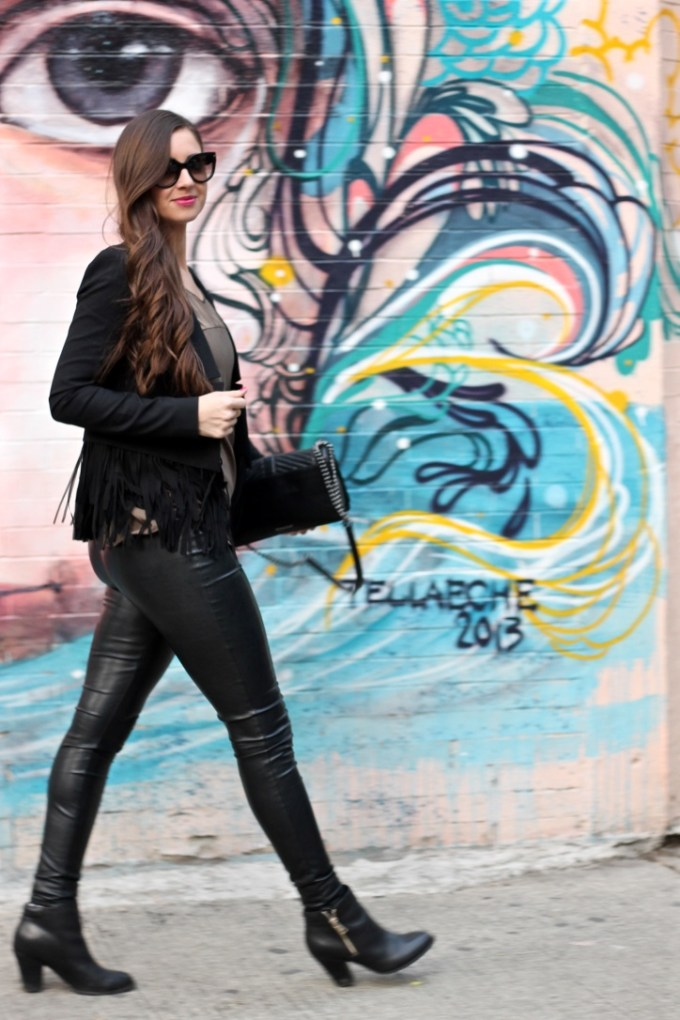 Banana Republic Chiffon Fringe Blazer, Black Faux Leather Pants