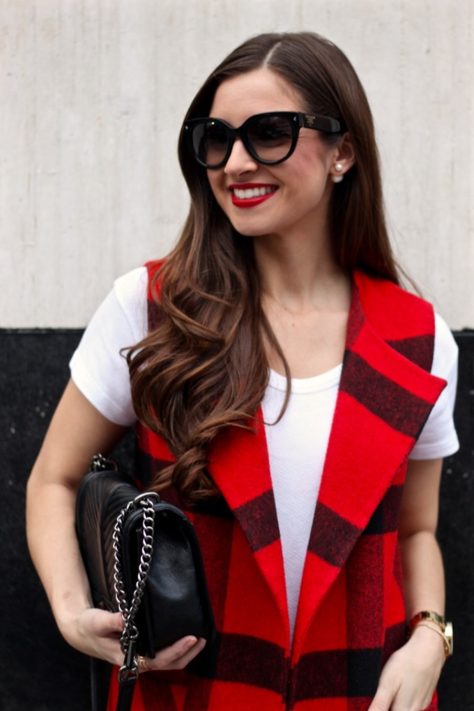 Helene Berman Red Plaid Vest with Fringe, Red Plaid, White tee and jeans