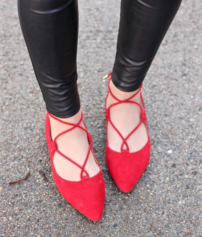 Franco Sarto Red Lace-up Flats