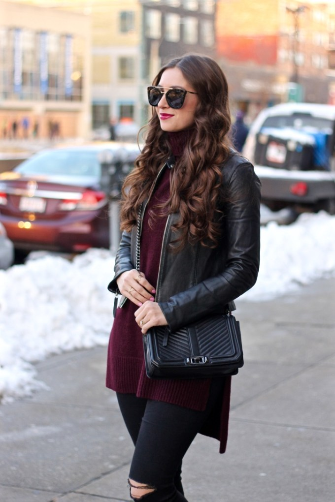 Black Leather Jacket Winter Outfit