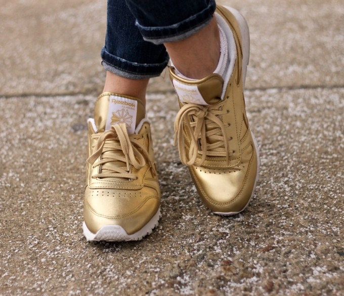 Gold Reebox x Stockholm Face Classic Sneakers