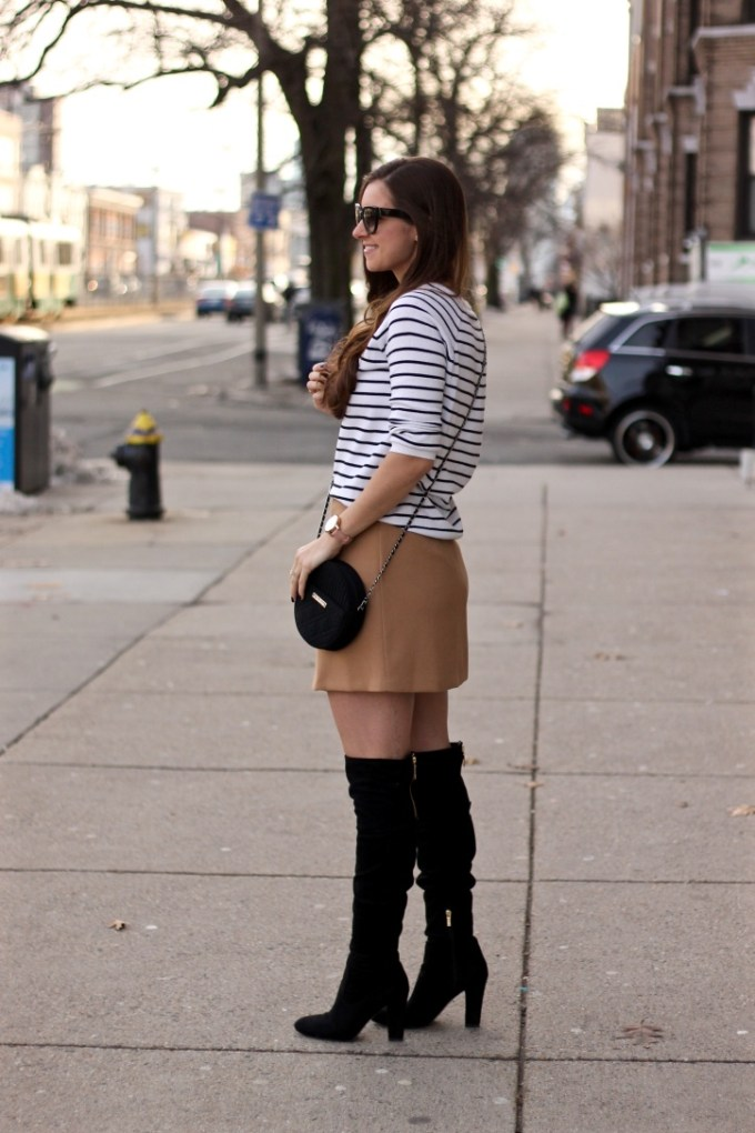 Bonjour Graphic Striped Sweater, Camel Mini Skirt, Black Suede OTK Boots, Stuart Weitzman Look-alike boots