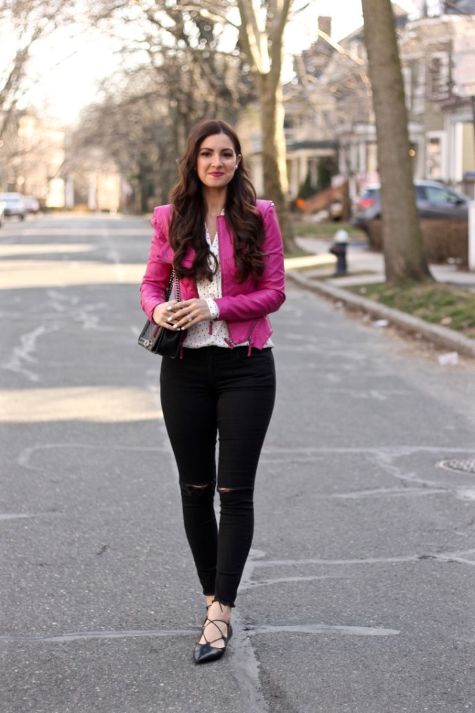 BLANKNYC Magenta Pink Leather Jacket, La Mariposa Rachel Pink Leather Jacket