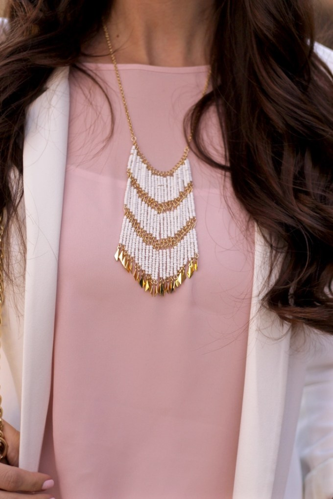 Charming Charlie Layered Cream and Gold Fringe Necklace