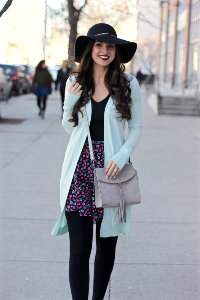 Baby Blue Long Boyfriend Cardigan, Floral Skirt, Floppy Hat, Styling a Floppy Hat, Transitional Skirts