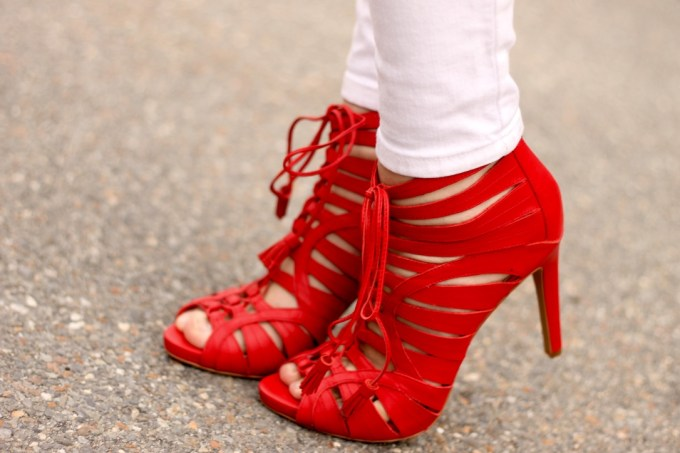 Vince Camuto Red Caged Heels