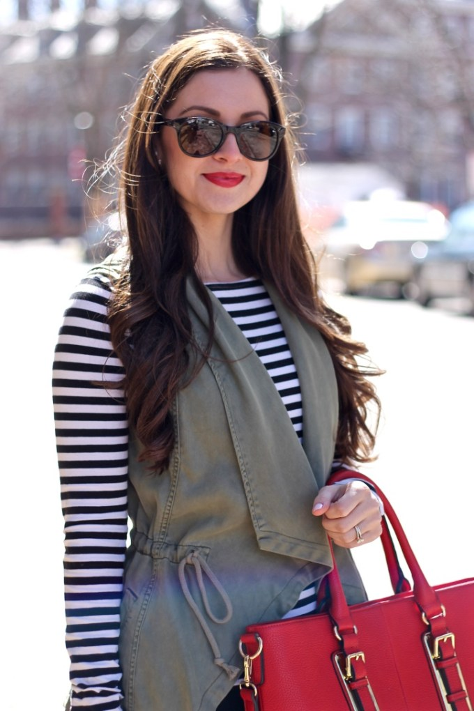 Kenneth Cole Reaction Olive Green Waterfall Vest, Styling Stripes for Spring