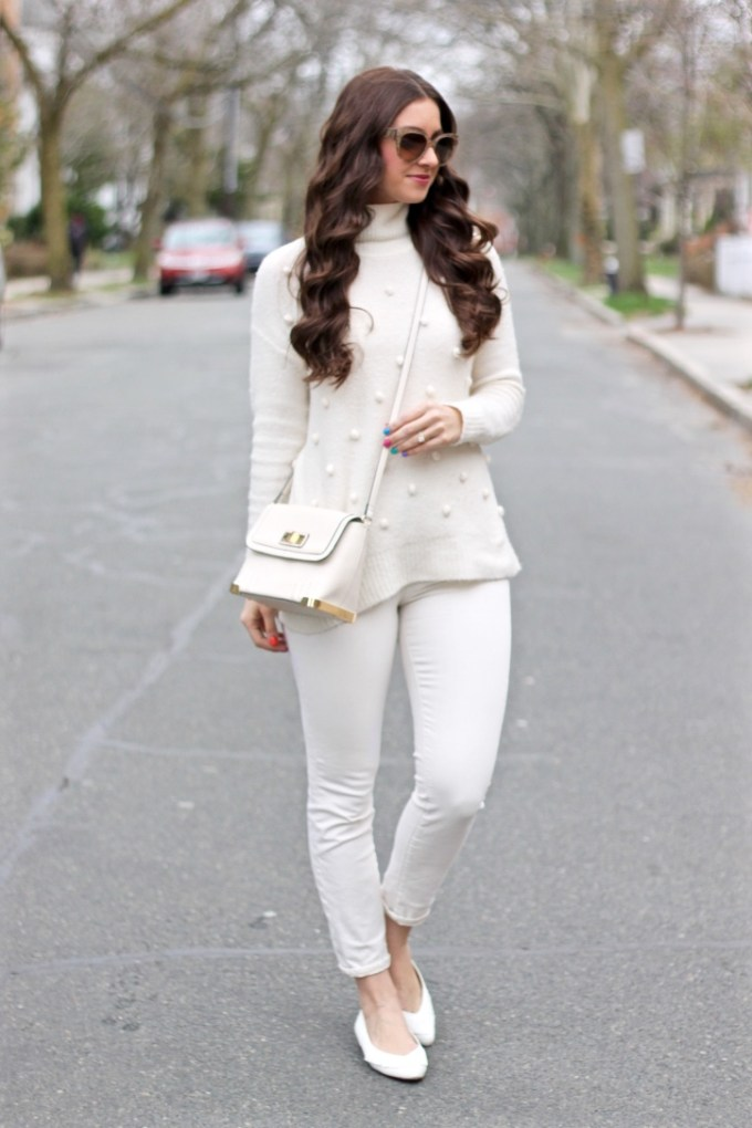 Monochromatic Solid Cream Spring Outfit