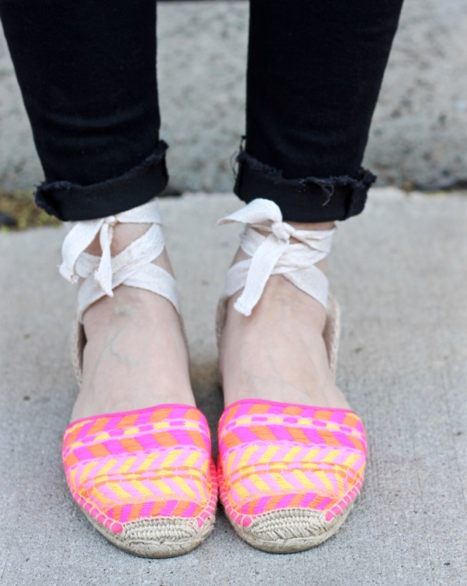 Soludos Hot Pink Aztec Print Espadrille Lace-ups