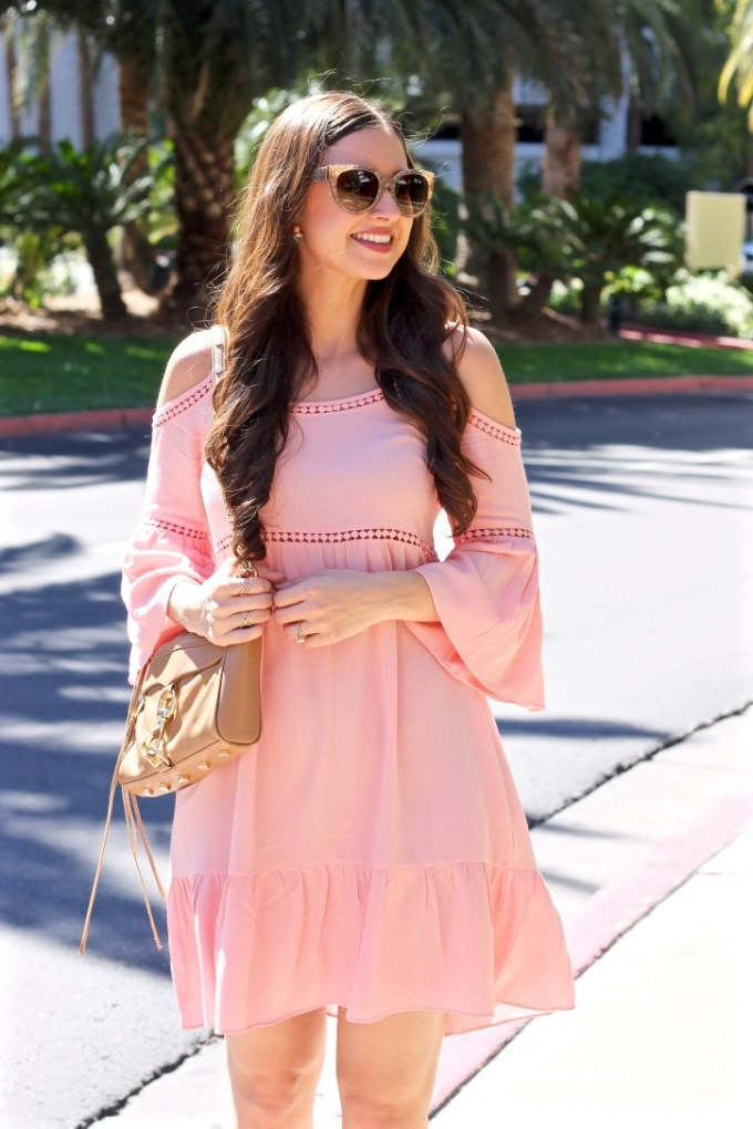 Soprano Peach Blush Off the Shoulder Crochet Dress