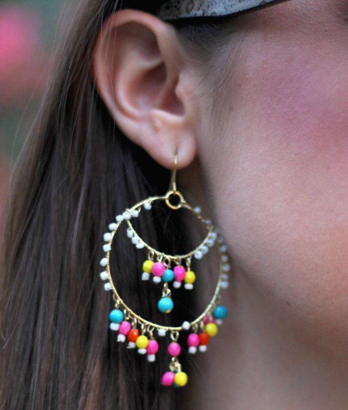 Colorful Beaded Chandelier Drop Earrings