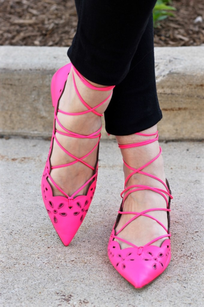 La Mariposa: J.Crew Neon Pink Leather Eyelet Lace-up Flat