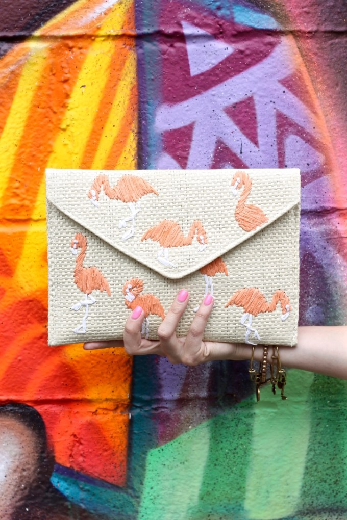 Mango Flamingo Envelope Clutch