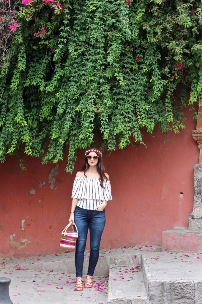 Striped Off-the-shoulder top, red flower crown, San Miguel de Allende, La Mariposa in San Miguel de Allende Mexico