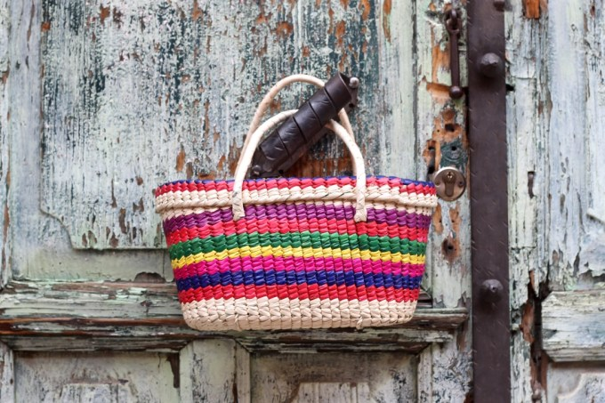 Colorful striped straw market tote from Mexico