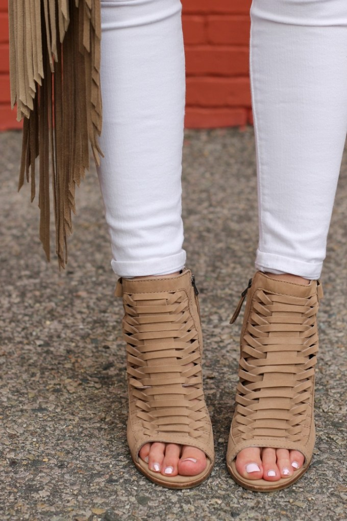 Woven Strappy Wedges, Fringe Purse