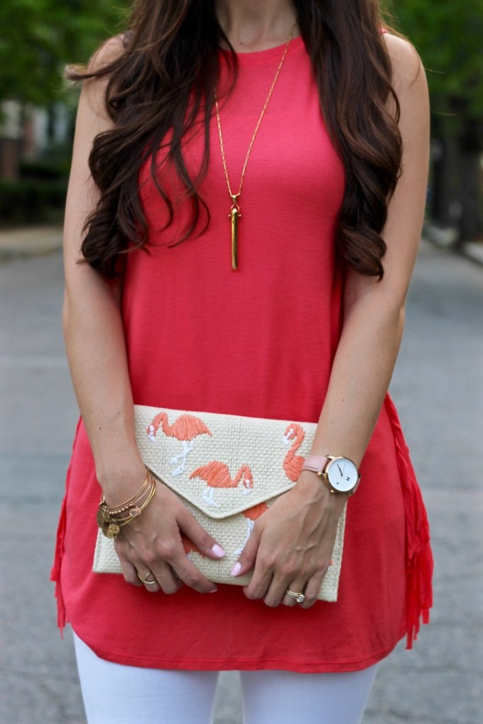 La Mariposa Blog: Coral side fringe tunic, Charming Charlie side fringe tank, coral tunic, cute summer tunic outfit, Mango flamingo clutch, straw clutch,clutch with famingos