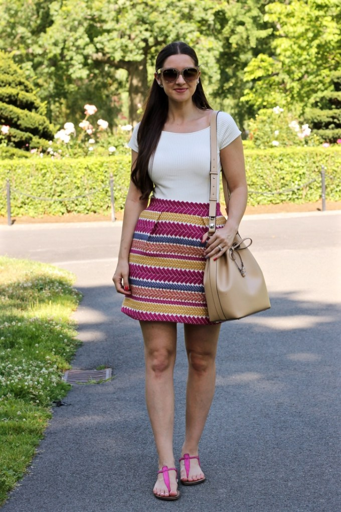 Anthropologie Jacquard Pink, Purple, Yellow Mini Skirt , La Mariposa Summer Skirt