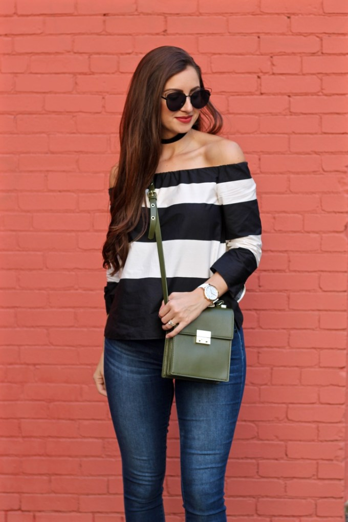 La Mariposa Blog, Boston Fashion Blog, Striped Off the Shoulder Shirt, Kristen Kylie Cosmetics Lipkit, Red Matte Lipstick, Olive Green Purse, Black Choker, Velvet Choker