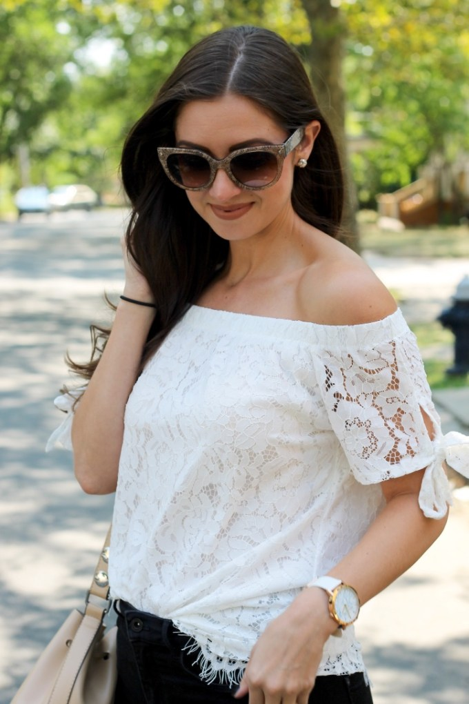 La Mariposa Boston Blogger, White Lace Off the Shoulder Top
