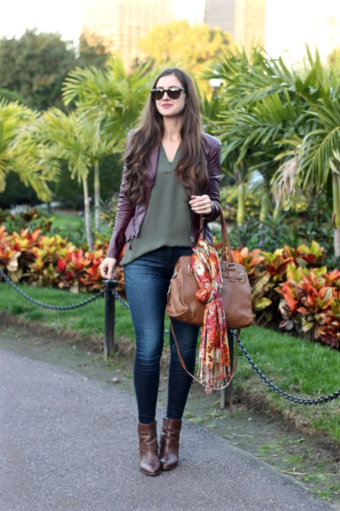 La Mariposa Boston Fashion Blog, Fall Outfit Idea, Maroon Leather Jacket, Maroon and Olive Colored Outfit