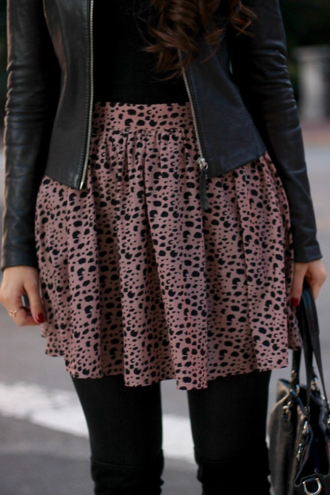 La Mariposa Blog: Taupe Leopard Skirt, Fall Leather Jacket Outfit