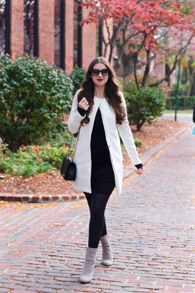 White H&M Dress Coat, Express black sweater dress, Steve Madden grey glorria booties