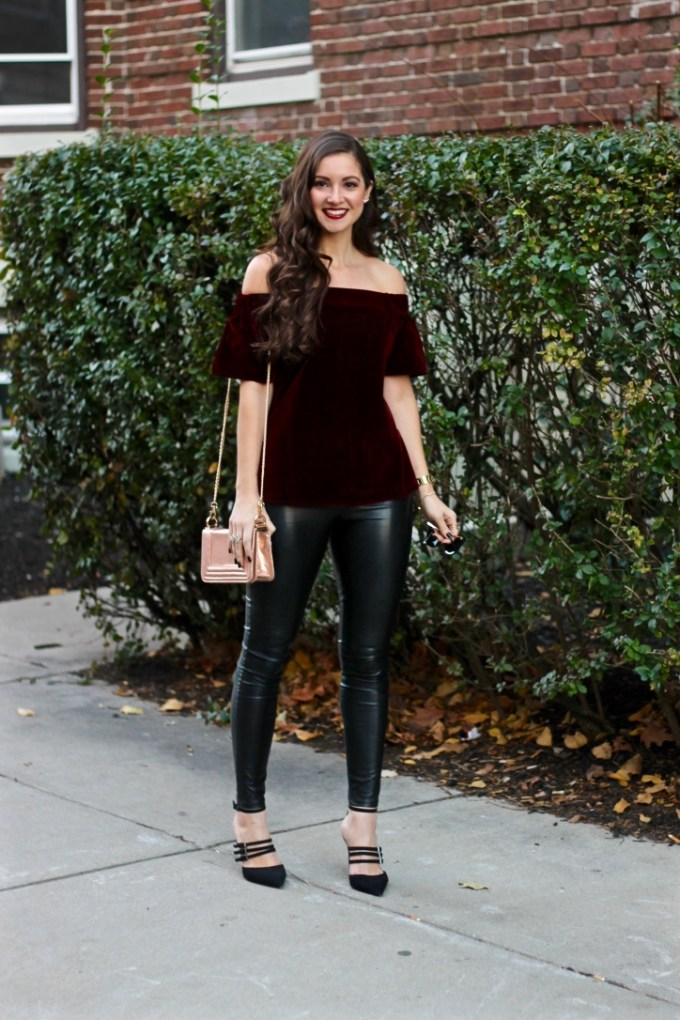 Asos Off the Shoulder Top in Burgundy Velvet, Holiday Outfit Idea, Cheap Black Leather Leggings