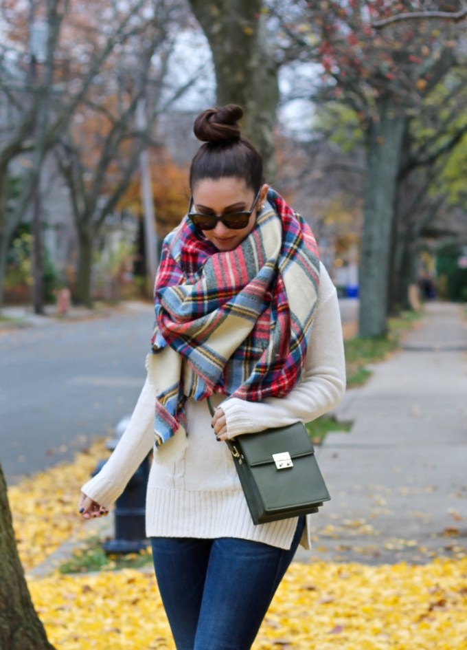 Plaid Tartan Oversides Scarf, Thanksgiving Outfit Idea, Olive Green Zara Leather Bag