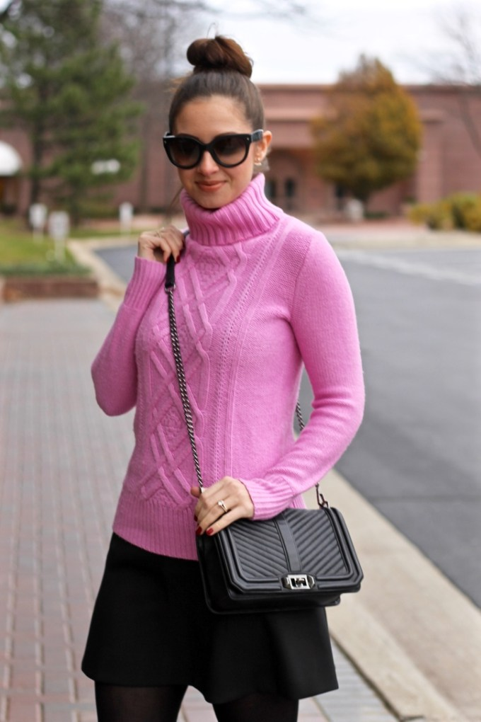 J.Crew Cambridge cable turtleneck sweater in pink, baby pink turtleneck sweater