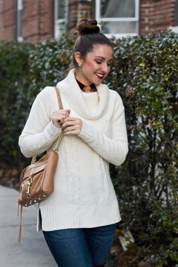 J.Crew Factory Cowl-neck ivory sweater, Aveda nourish-mint snap dragon red lipstick, rebecca minkoff tan m.a.c