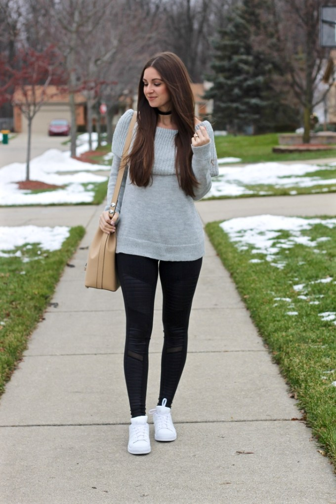 Adidas White Leather Superstar Originals, Alo Yoga Moto Leggings, Grey Off-the-shoulder chunky knit sweater