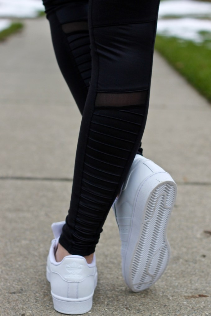 Adidas White Leather Superstar Originals, Alo Yoga Moto Leggings