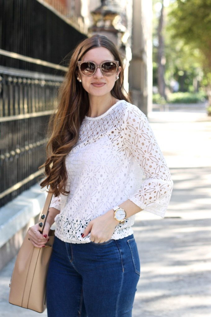 White Cropped Eyelet Lace Bell Sleeve Top, Casual Travel Outfit Idea