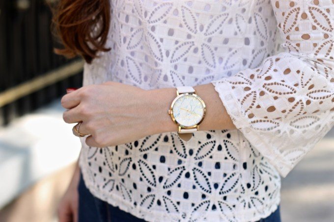 White Christian Paul Watch, White Cropped Eyelet Lace Bell Sleeve Top, Casual Travel Outfit Idea