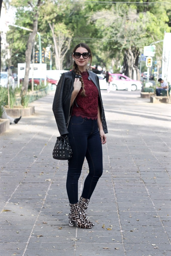 Zara Burgundy Embroidered Lace Top, Velvet Leopard Booties