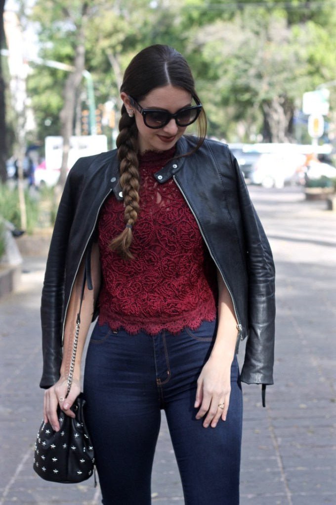 Zara Burgundy Embroidered Lace Top