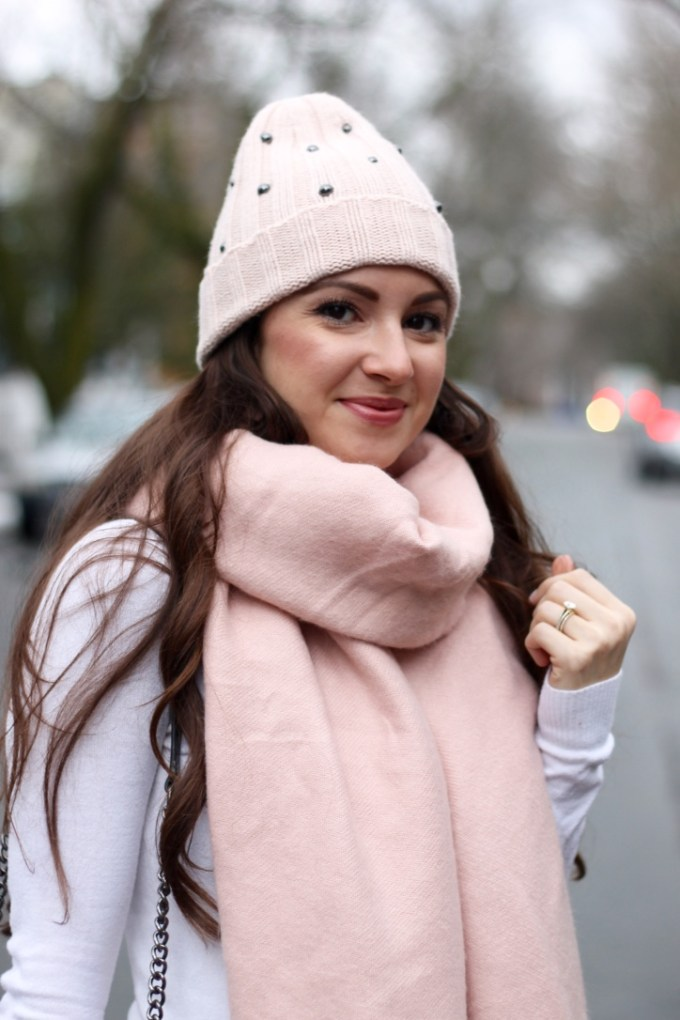 Cute blush pink winter accessories